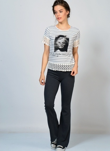 Brigitte Bardot Bisiklet Yaka Baskılı Tişört Gri
